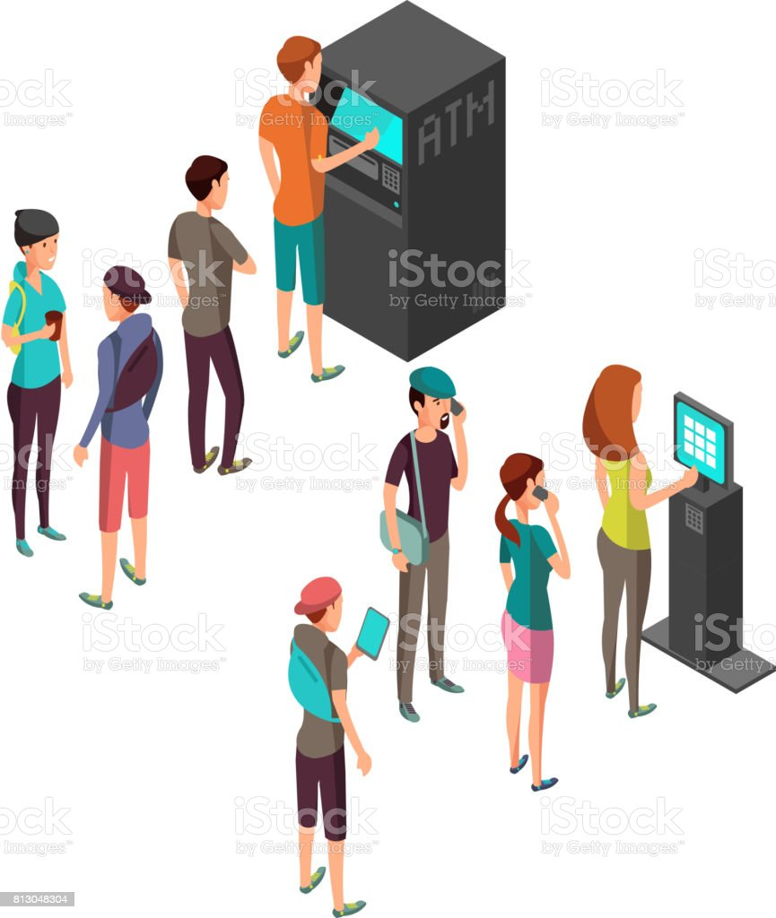 Row of waiting people at atm payment machine and terminal. 3d isometric banking and finance vector concept vector art illustration