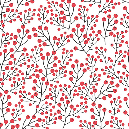 Rowan seamless pattern. Vector background