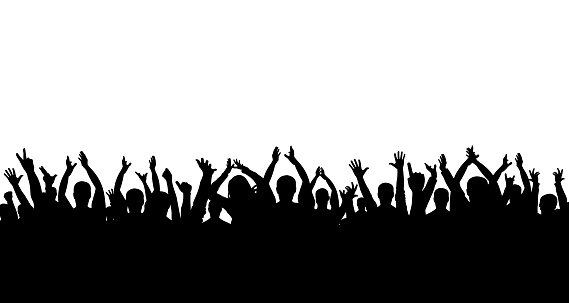 Сrowd of people applauding silhouette