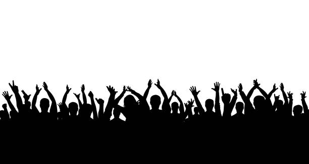 Сrowd of people applauding silhouette Сrowd of people applauding silhouette crowd of people stock illustrations