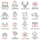 Сrowdfunding, crowdsourcing, fundraising and support icons