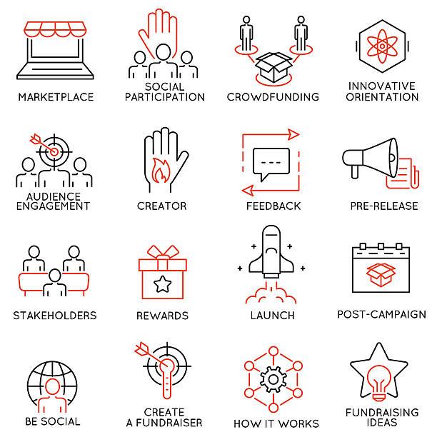 ilustraciones, imágenes clip art, dibujos animados e iconos de stock de сrowdfunding, crowdsourcing, fundraising and support icons - prometido
