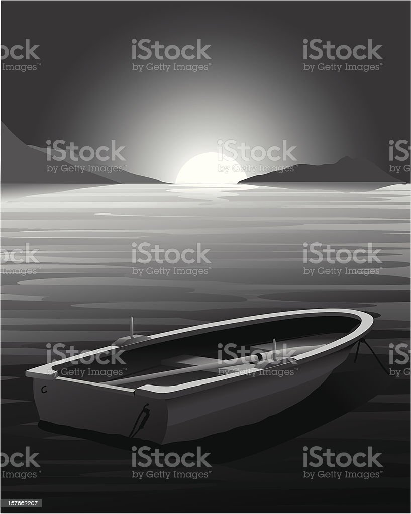 Rowing Boat at Sunset - Vector illustration royalty-free stock vector art