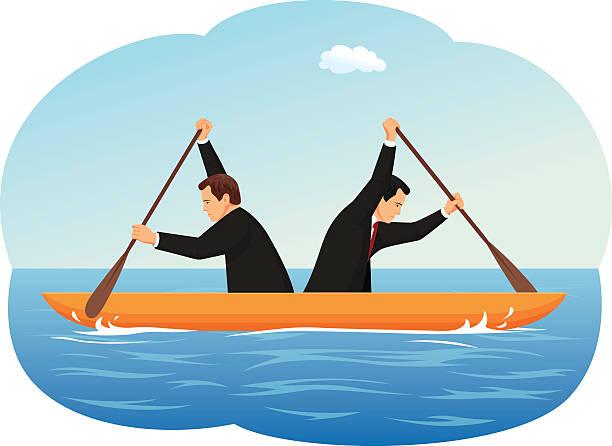 Rudern Geschäftsleute – Vektorgrafik