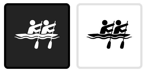 Rowing Icon on  Black Button with White Rollover