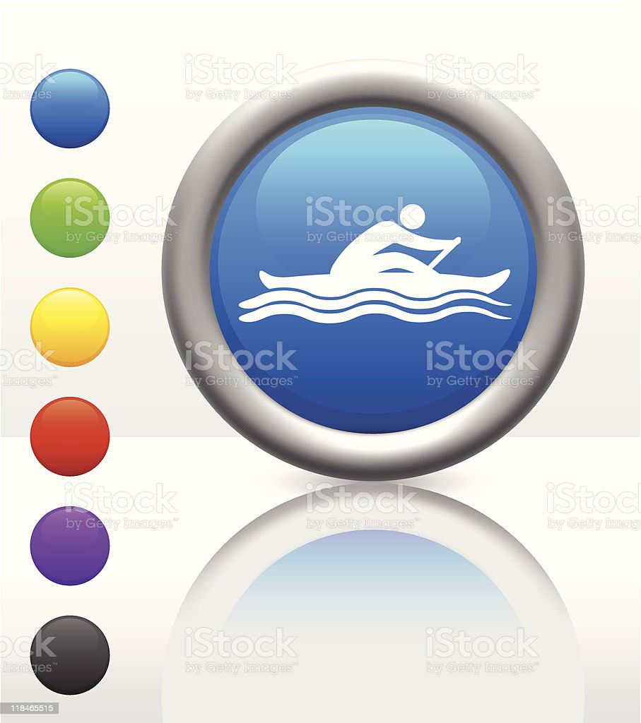 rowing icon on internet button royalty-free stock vector art