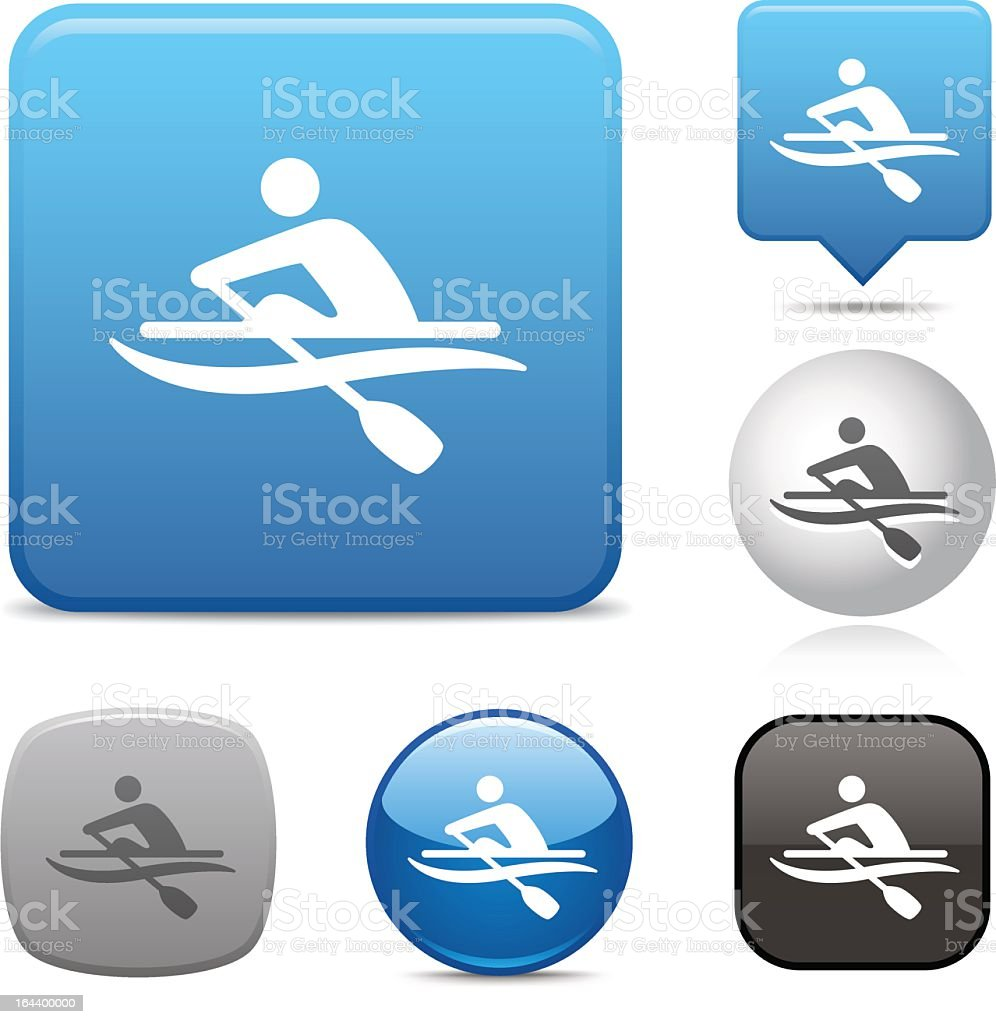 Rowing icons in various shapes and colors on white vector art illustration