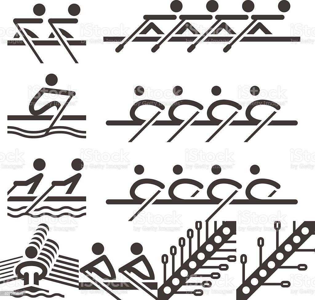 Ícones de remo - ilustração de arte em vetor