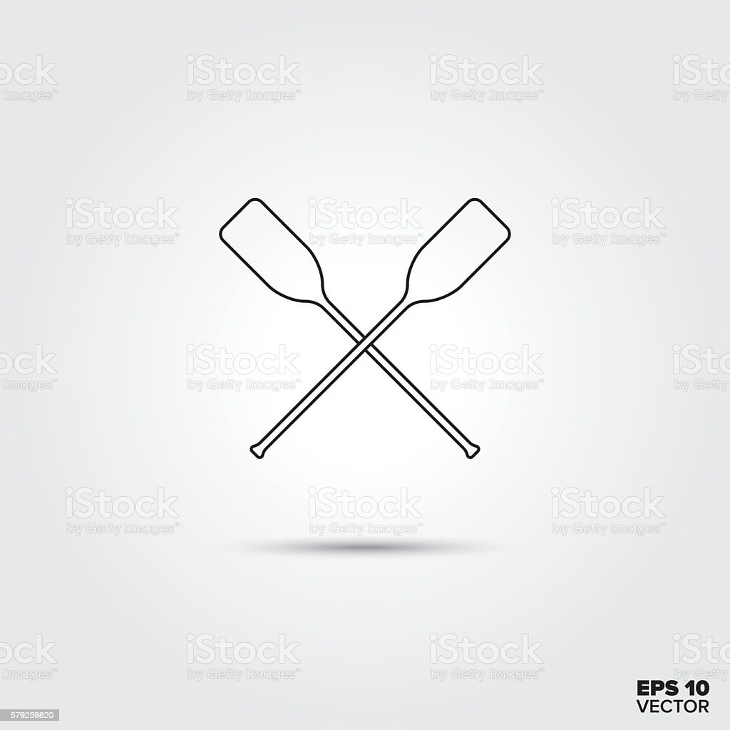Rowing paddles Line Icon vector art illustration