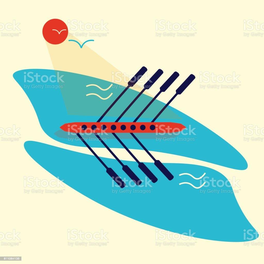 Rudern Rennen oder Regatta Illustration. Ideal als Vorlagematerial für Regatta, Bootsrennen, Besatzung oder Ruder-Event. Gut auch als Teamarbeit Konzept. – Vektorgrafik