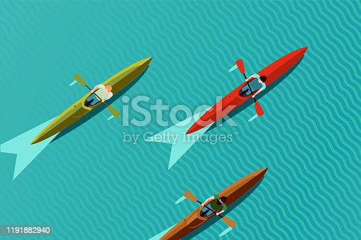 Rowing team. Top view of kayak boat. Canoe race vector illustration, flat style. Water sport background.