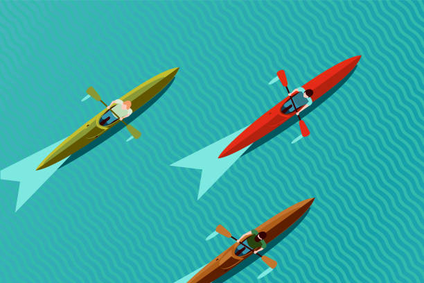 ボートチーム。カヤックボートの頂上図。カヌーレースベクターイラスト、フラットスタイル。 - 小型船舶点のイラスト素材/クリップアート素材/マンガ素材/アイコン素材