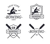 Rowing team. Vector emblem of rowing crew with paddles