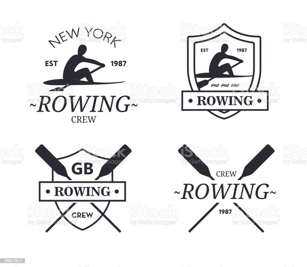 Ruderteam. Vektor-Emblem der Ruder-Crew mit Paddel – Vektorgrafik