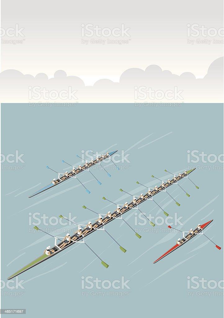 rowing team vector art illustration