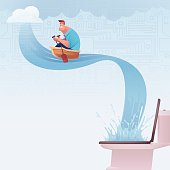 vector illustration of businessman rowing under circuit cloud...