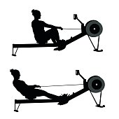 Silhouette vector illustration of a woman using the rowing machine, pulling and releasing