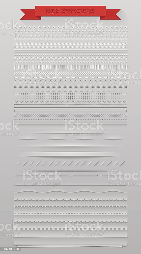 Rows of different web dividers vector art illustration