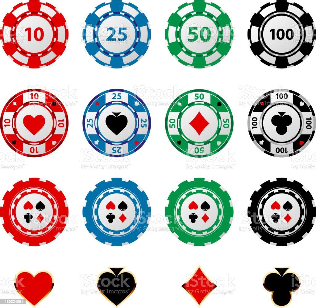 Rows of gambling chips on white background vector art illustration