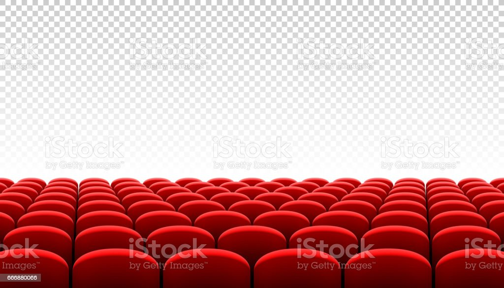 Rows Of Red Cinema Movie Theater Seats On Transparent Background Stock Illustration Download Image Now Istock