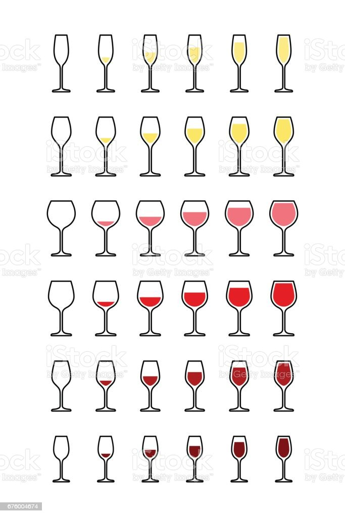 Rows of wine glasses from empty to full vector art illustration