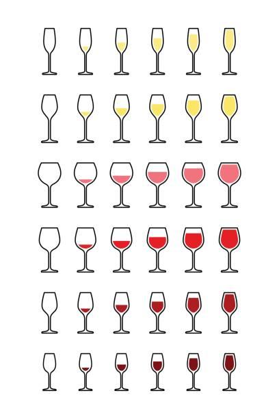 bildbanksillustrationer, clip art samt tecknat material och ikoner med rader av vinglas från tomt till fullt - vitt vin glas