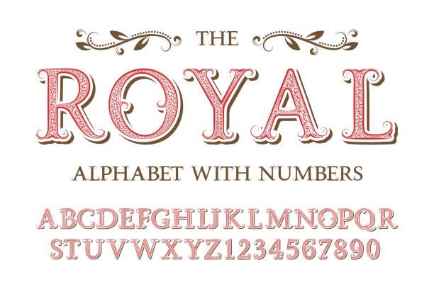ilustrações, clipart, desenhos animados e ícones de alfabeto real com números no velho estilo vintage inglês. - antiguidades