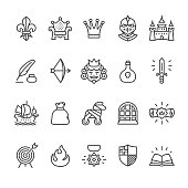 Royal and Medieval theme related vector icons.