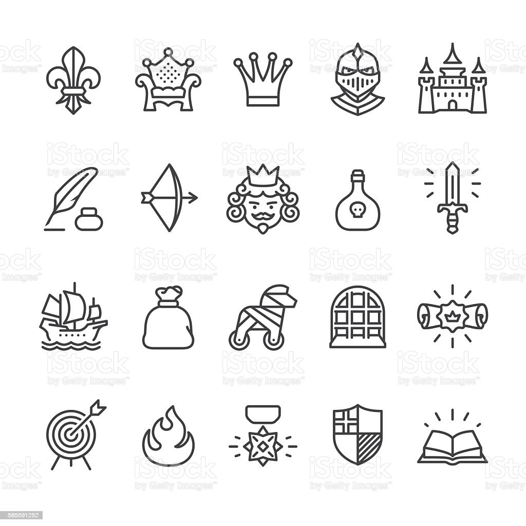 Royal and Medieval theme vector icons vector art illustration