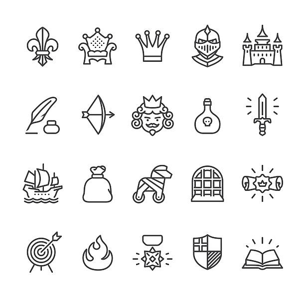 royal and medieval theme vector icons - knight in shining armor stock illustrations, clip art, cartoons, & icons