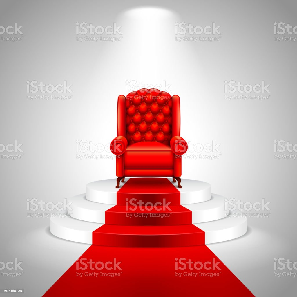 Royal armchair on stairs with red carpet vector art illustration