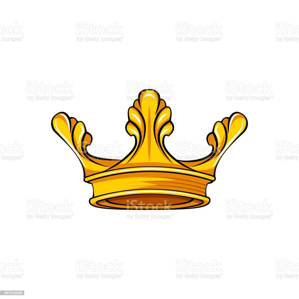 Royal Attribute Golden Crown Icon Queen King Symbol Vector Stock