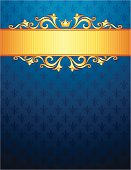 Royal background with golden ribbon, ornaments and crown. Blue fleur de lys background pattern..