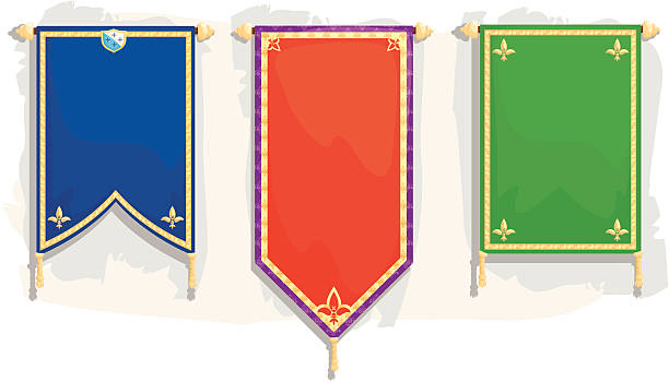 royal banners - ortaçağ stock illustrations