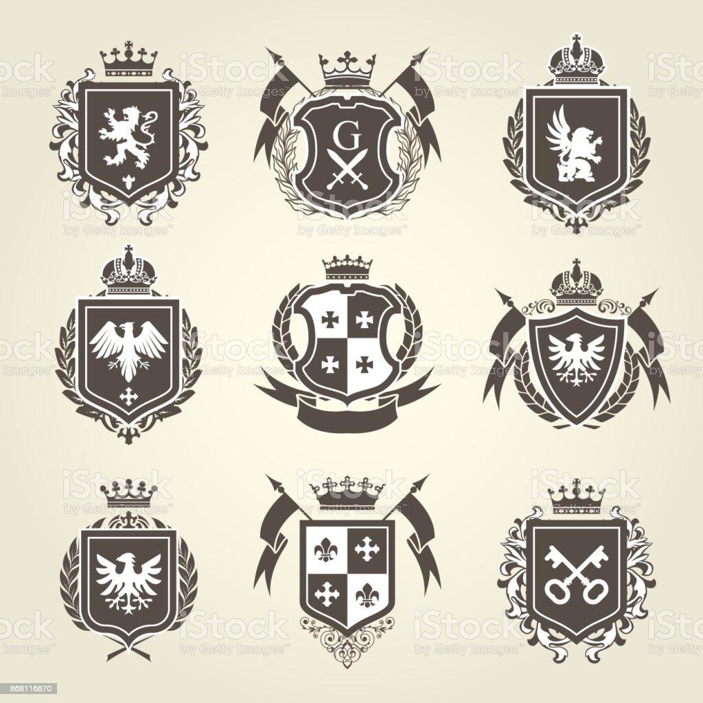 Real blasones y escudos - emblemas heráldicos de caballero ilustración de real blasones y escudos emblemas heráldicos de caballero y más vectores libres de derechos de ala de animal libre de derechos