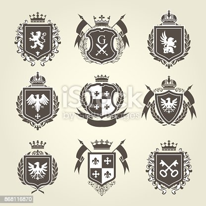 istock Royal blazons and coat of arms - knight heraldic emblems 868116870