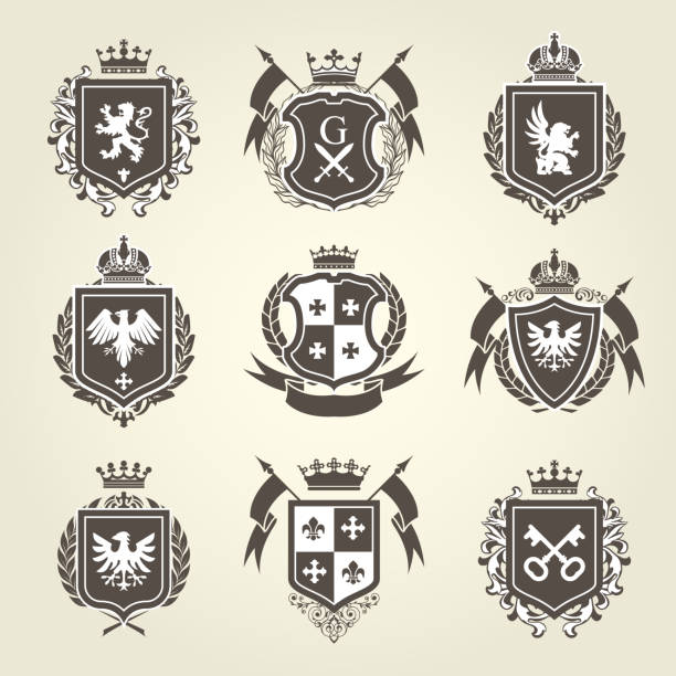 royal blazons and coat of arms - knight heraldic emblems - knight in shining armor stock illustrations