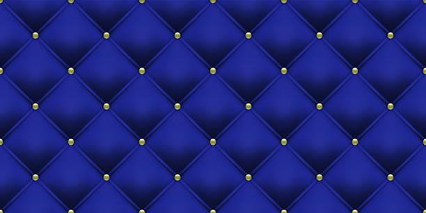 königlich blauer hintergrund mit goldenen knöpfen muster. vektorleder oder samt vintage-luxus-polster mit goldenen knöpfen nahtlosen musterhintergrund - plüschmuster stock-grafiken, -clipart, -cartoons und -symbole