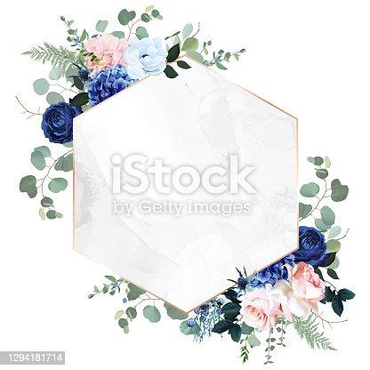 istock Royal blue, navy garden rose, blush pink hydrangea flowers, anemone, thistle, eucalyptus 1294181714