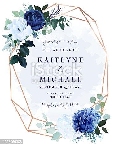 istock Royal blue rose,  white hydrangea, anemone, eucalyptus, juniper vector design frame 1207060308