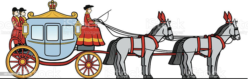 Royal Carriage With Horses royalty-free stock vector art