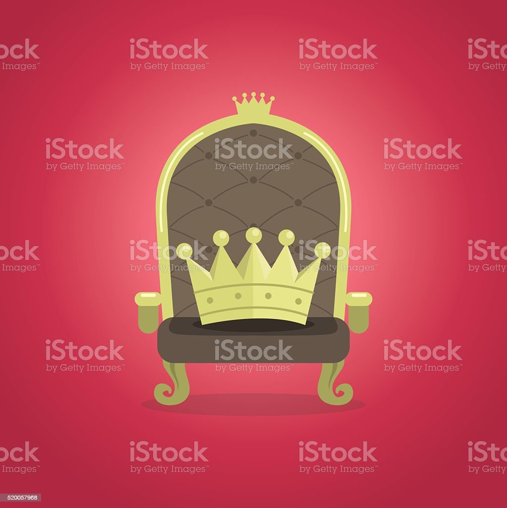 Royal Chair with the crown vector art illustration