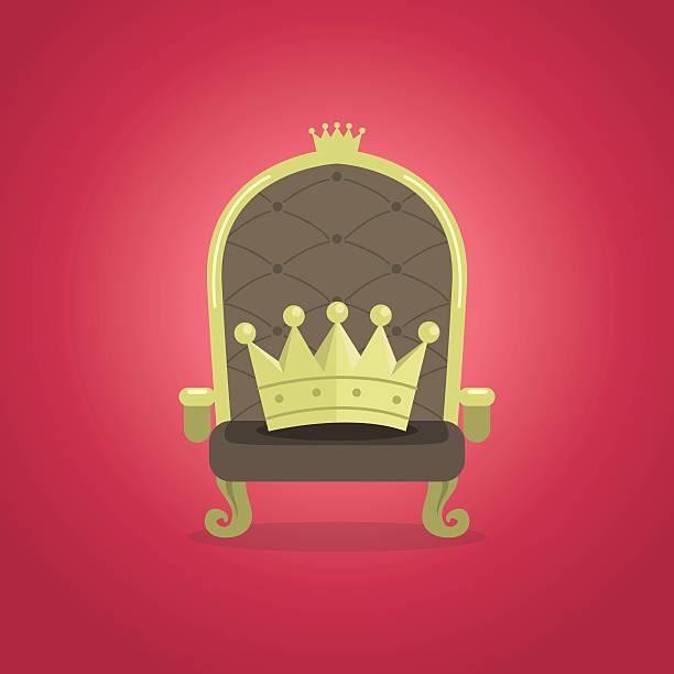 königlichen sessel mit der krone - stuhllehnen stock-grafiken, -clipart, -cartoons und -symbole