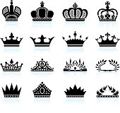 Royal crown and tiara royalty free vector icon set