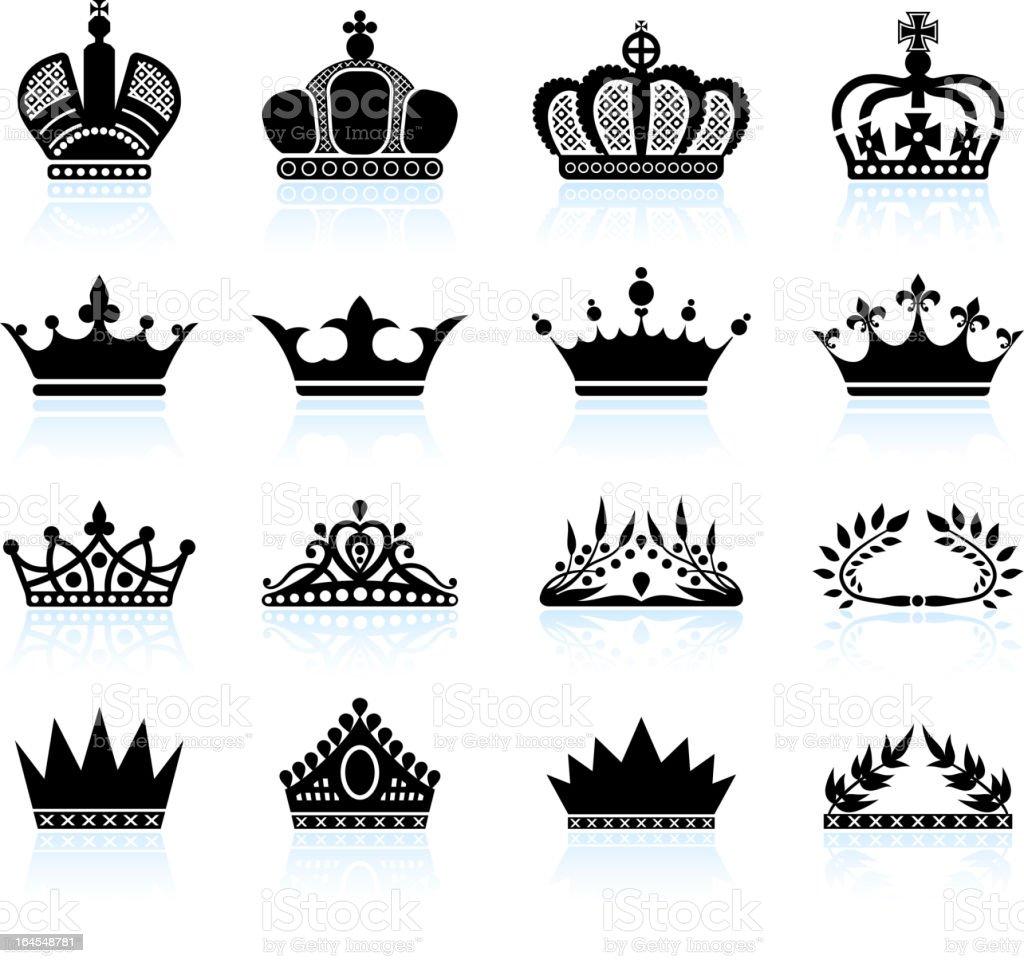 Royal crown and tiara royalty free vector icon set vector art illustration