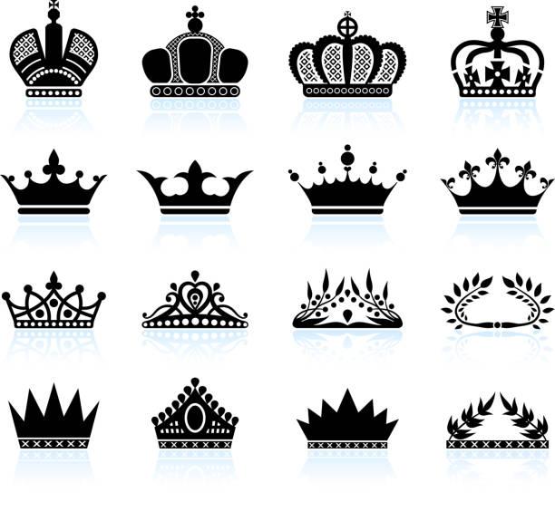 illustrations, cliparts, dessins animés et icônes de royal crown et tiare ensemble d'icônes vectorielles libres de droits - couronne reine