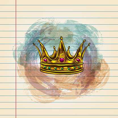Royal Crown Drawing on Ruled Paper