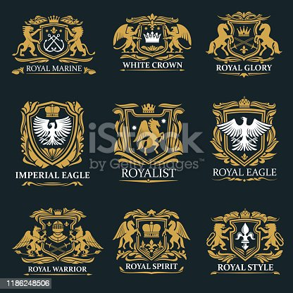 istock Royal crown heraldry, coat of arms 1186248506