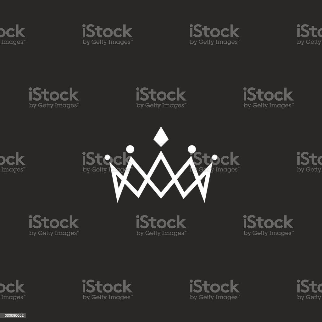 Royal crown icon mockup monogram, jewel tiara princess beauty symbol, thin line design element vector art illustration
