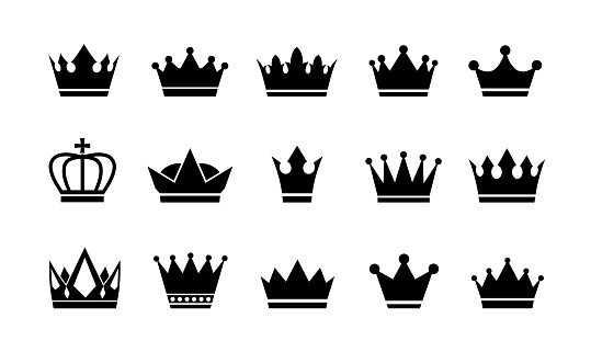 Royal crown icons collection set.